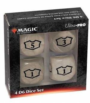 MAGIC THE GATHERING DICE SET DE 6 DELUXE LOYALTY 22 MM WHITE