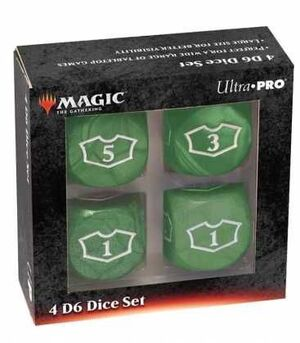 MAGIC THE GATHERING DICE SET DE 6 DELUXE LOYALTY 22 MM GREEN