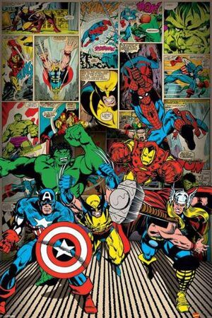 POSTER MARVEL HERE COME THE HEROES 61X91CM