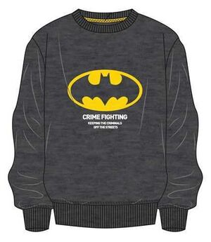 BATMAN SUDADERA GRIS OSCURO CRIME FIGHTING L