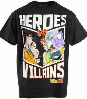 DRAGON BALL Z CAMISETA NEGRA HEROES VS VILLAINS XL