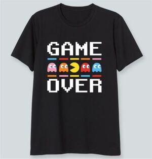 PAC-MAN CAMISETA NEGRA GAME OVER S