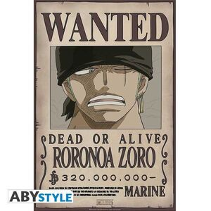 POSTER ONE PIECE WANTED ZORO NEW 52 X 38 CM