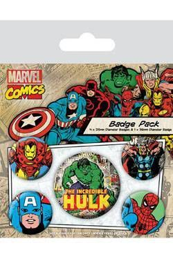 HULK PACK 5 CHAPAS MARVEL COMICS
