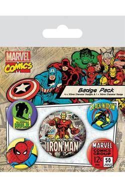 IRON MAN PACK 5 CHAPAS MARVEL COMICS