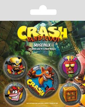 CRASH BANDICOOT PACK 5 CHAPAS POP OUT