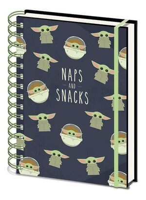 STAR WARS THE MANDALORIAN NOTEBOOK ANILLAS A5 SNACKS AND NAPS