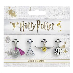 HARRY POTTER PACK 4 COLGANTES SNITCH / DEATHLY HALLOWS / PLATFORM 9 3/4 / LOVE POTION (PLATEADOS)