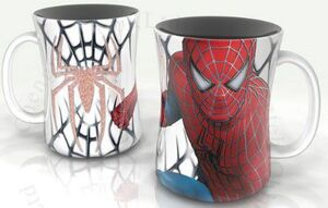 SPIDERMAN TAZA EN RELIEVE ARAÑA EN RED