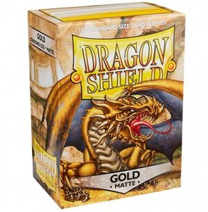 FUNDAS CARTAS DRAGON SHIELD ESTANDAR MATTE-GOLD (100)