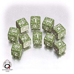 DADOS Q-WORKSHOP SET DE 10D6: BATTLE USA GREEN-WHITE