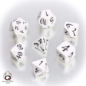 DADOS Q-WORKSHOP SET DE 7: CLASSIC RPG WHITE-BLACK