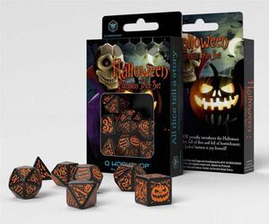 DADOS Q-WORKSHOP SET DE 7 HALLOWEEN NEGRO Y NARANJA