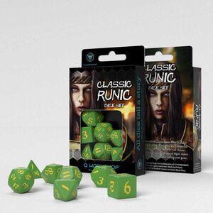 DADOS Q-WORKSHOP SET DE 7 CLASSIC RPG RUNIC VERDE Y AMARILLO