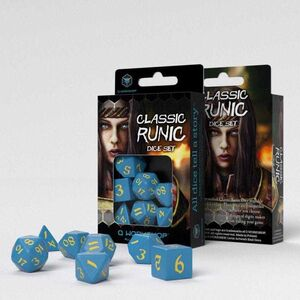 DADOS Q-WORKSHOP SET DE 7 CLASSIC RPG RUNIC AZUL Y AMARILLO