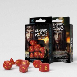 DADOS Q-WORKSHOP SET DE 7 CLASSIC RPG RUNIC ROJO Y AMARILLO