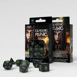 DADOS Q-WORKSHOP SET DE 7 CLASSIC RPG RUNIC NEGRO Y VERDE