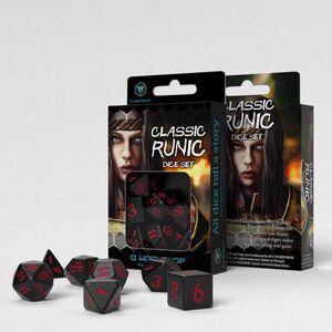 DADOS Q-WORKSHOP SET DE 7 CLASSIC RPG RUNIC NEGRO Y ROJO