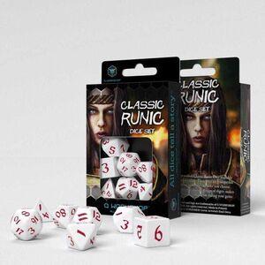 DADOS Q-WORKSHOP SET DE 7 CLASSIC RPG RUNIC BLANCO Y ROJO