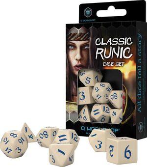 DADOS Q-WORKSHOP SET DE 7 CLASSIC RPG RUNIC BEIGE Y AZUL