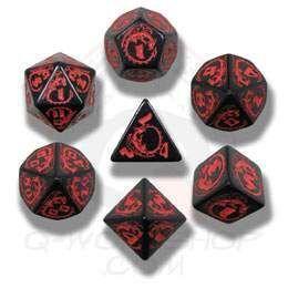 DADOS Q-WORKSHOP SET DE 7: DRAGONS BLACK-RED