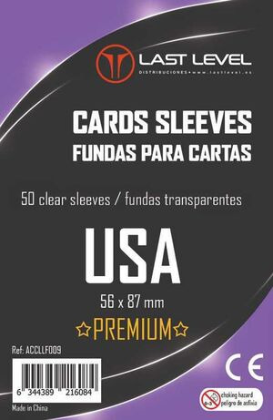FUNDAS LAST LEVEL USA PREMIUM 56 MM X 87 MM (50)