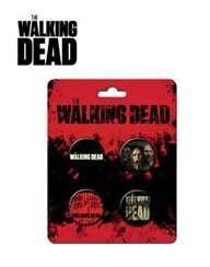 THE WALKING DEAD CHAPAS SET DE 4 - LOGOS Y ZOMBIES