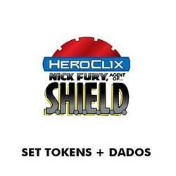 MARVEL HEROCLIX: NICK FURY SET TOKENS + DADOS