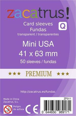 FUNDAS ZACATRUS MINI USA PREMIUM 41MM X 63MM (50)