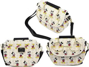 MICKEY Y MINNIE MOUSE BOLSO BANDOLERA BOW HARDWARE AOP