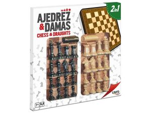 TABLERO AJEDREZ-DAMAS MADERA CON ACC. 40X40 CM.