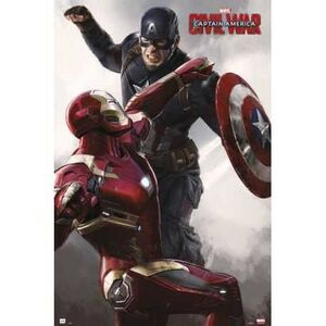POSTER CAPITAN AMERICA CIVIL WAR CAPITAN AMERICA VS IRON MAN 61 X 91 CM