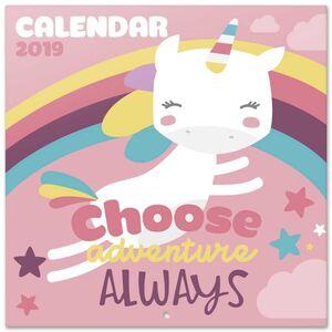 CALENDARIO 2019 UNICORN CHOOSE ADVENTURE ALWAYS 30X30 CM