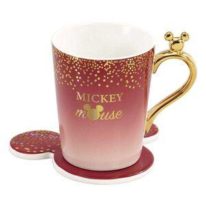 MICKEY MOUSE TAZA CON POSAVASOS MICKEY BERRY GLITTER