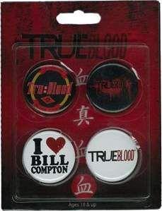 TRUE BLOOD SET A 4 CHAPAS I LOVE BILL