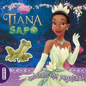TIANA Y EL SAPO COLOREO CON PEGATINAS