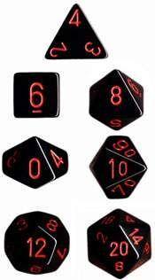 DADO PACK DE 10D10 OPAQUE BLACK / RED