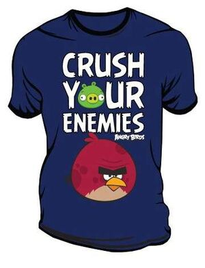 ANGRY BIRDS CAMISETA AZUL CRUSH YOUR ENEMIES XL