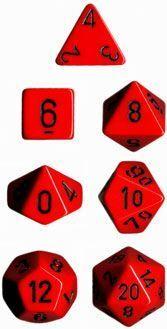 DADO PACK DE 7 OPACO RED & BLACK