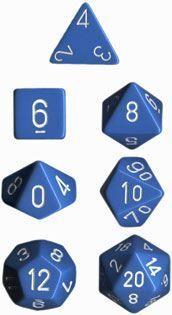 DADO PACK DE 7 OPACO BLUE & WHITE