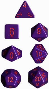 DADO PACK DE 7 OPACO PURPLE & RED