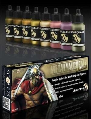 SCALECOLOR. SET DE PINTURA METAL AND ALCHEMY GOLDEN