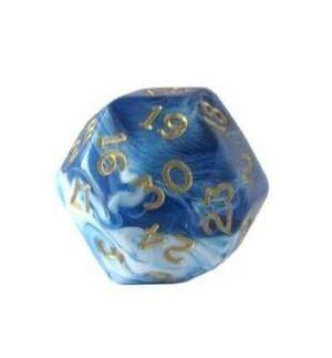 DADO 30 CARAS MARBLEIZED BLUE / WHITE